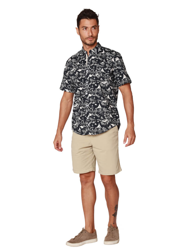Mens Hawaiian cotton shirt in black and white print, front view