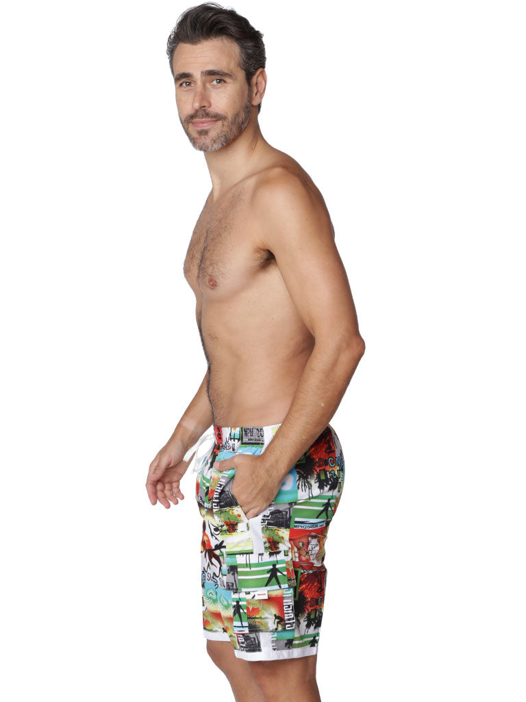 """Postcards"" print board shorts side view"