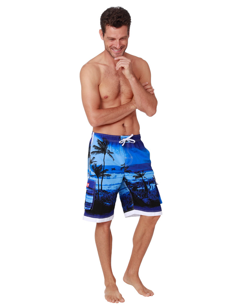 Midnight blues form the backdrop of these black silohuette palms, board shorts with a huge Ingear side pocket that features a velcro cover. Front View