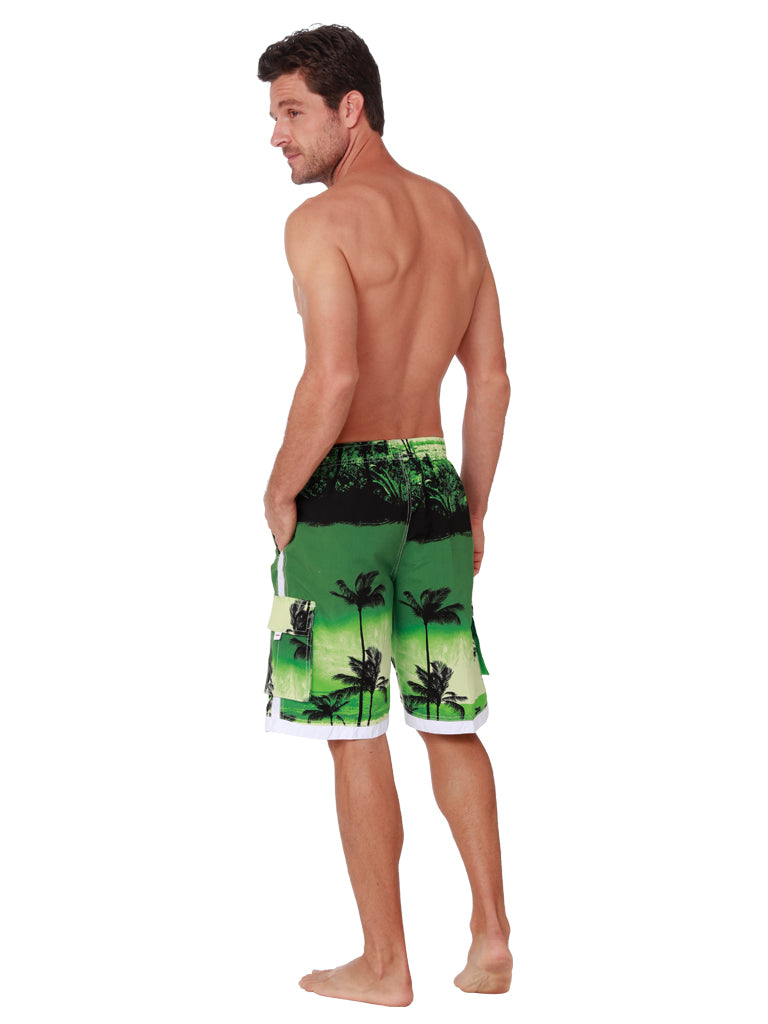 Men's Elastic Swim shorts, Board Shorts patterned in green palms, back view