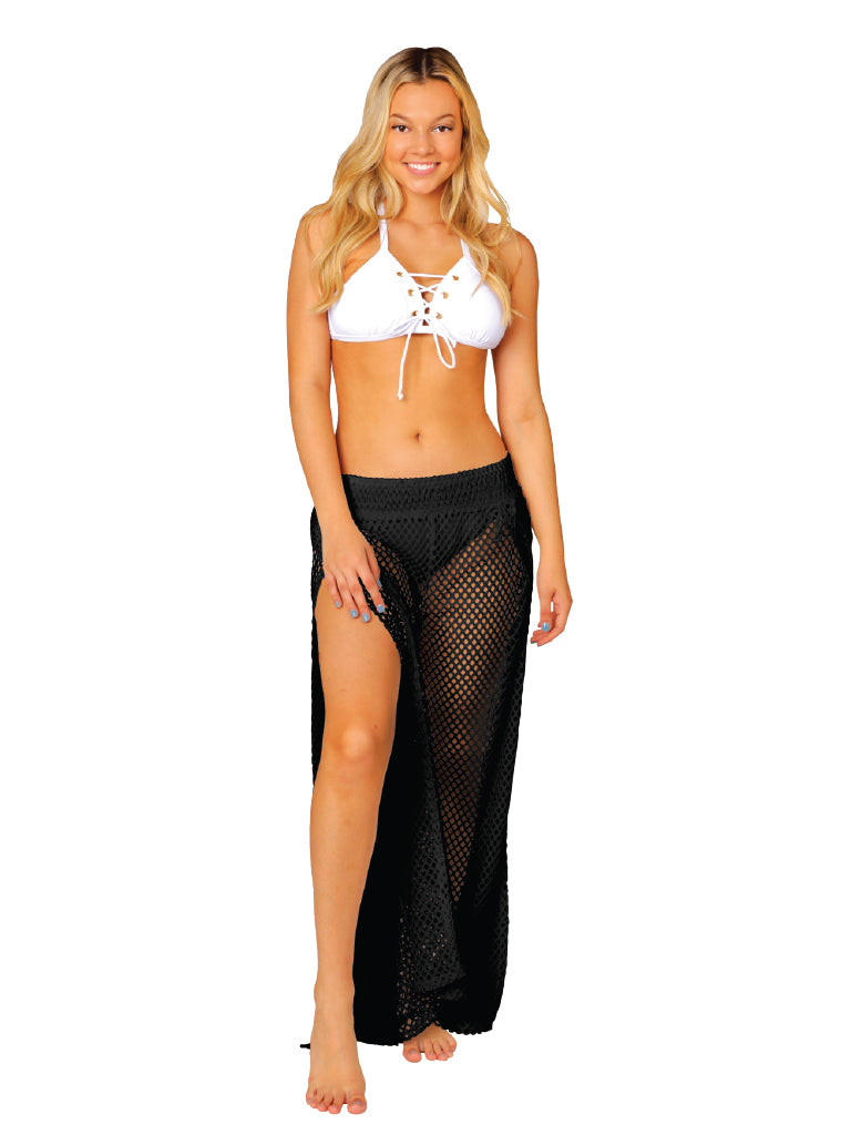 "Black fishnet ""Palazzo"" pant, front view"