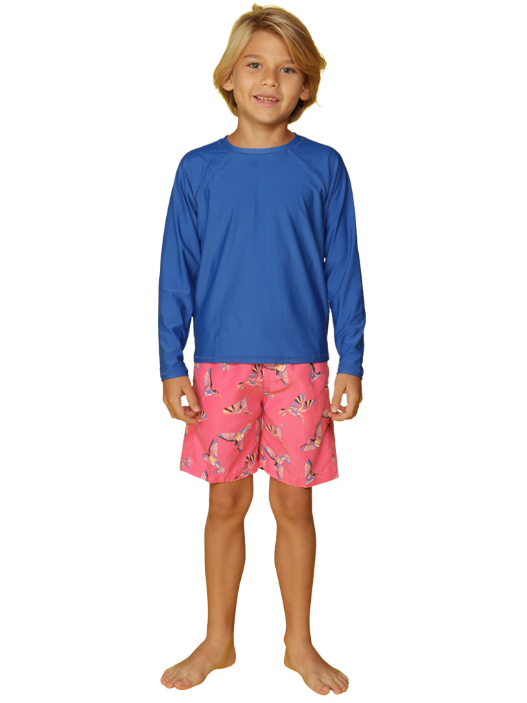 Loose fitting sun shirt / rash guard in royal color