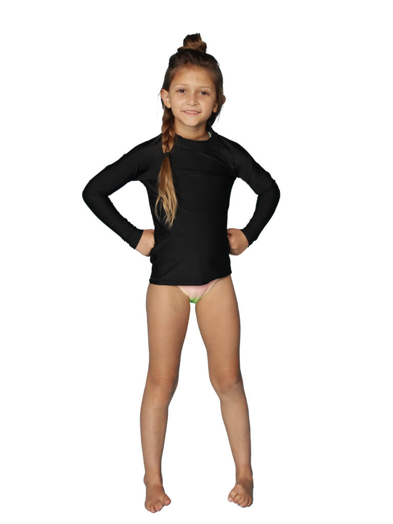 Girls' solid color rash guards in long sleeves, black - front view