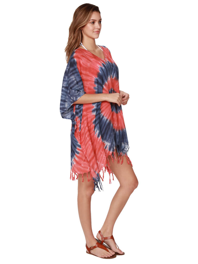 Side view of blue and red tie dye poncho