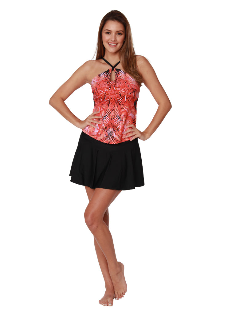 A high neck tankini in vibrant orange and pink fronds front view