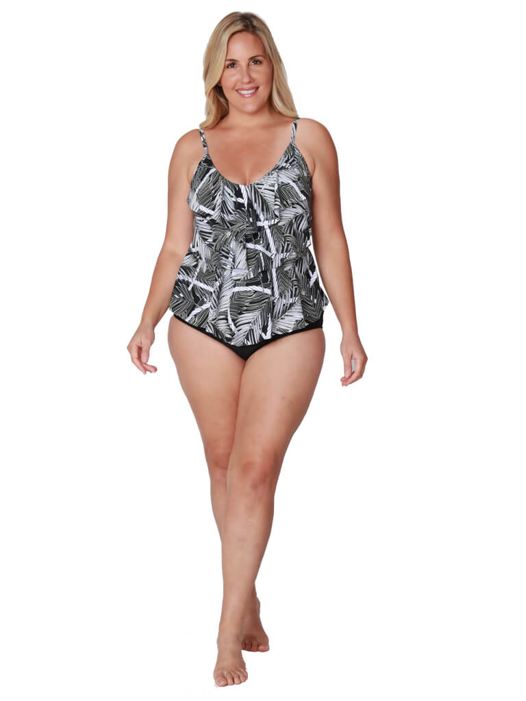 A tiered front tankini that features a palm and rope print, front view