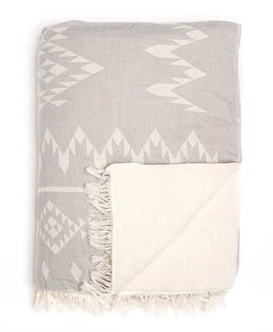 Grey patterned throw with fleece lining