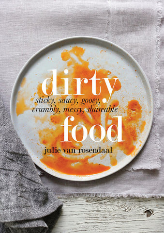 Dirty Food Cookbook cover with white plate with spaghetti sauce.