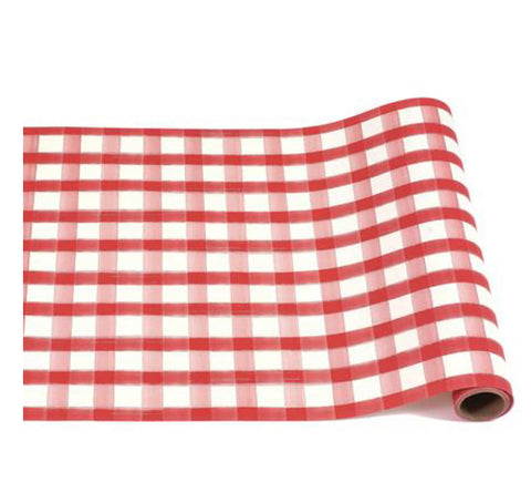 Roll of red checked paper table runner.
