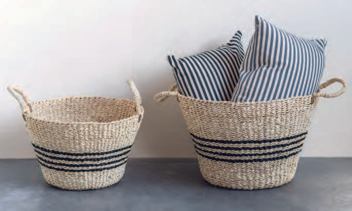 Striped Woven Baskets - Set of 2
