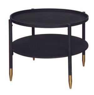 Round Black Metal Table w/ Shelf