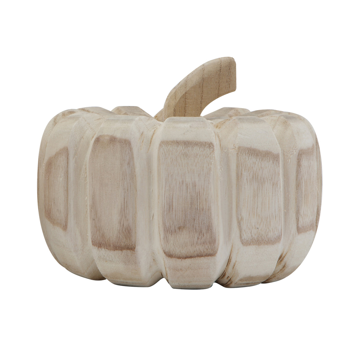 "6.75"" Carved Wood Pumpkin"