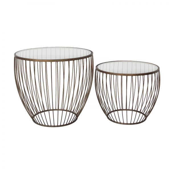 Cyclone Accent Tables- Set of 2, Gold