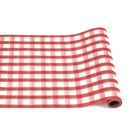 Red Painted Check Table Runner