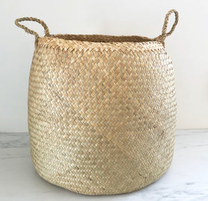 Natural Round Woven Seagrass Baskets - Set of 2