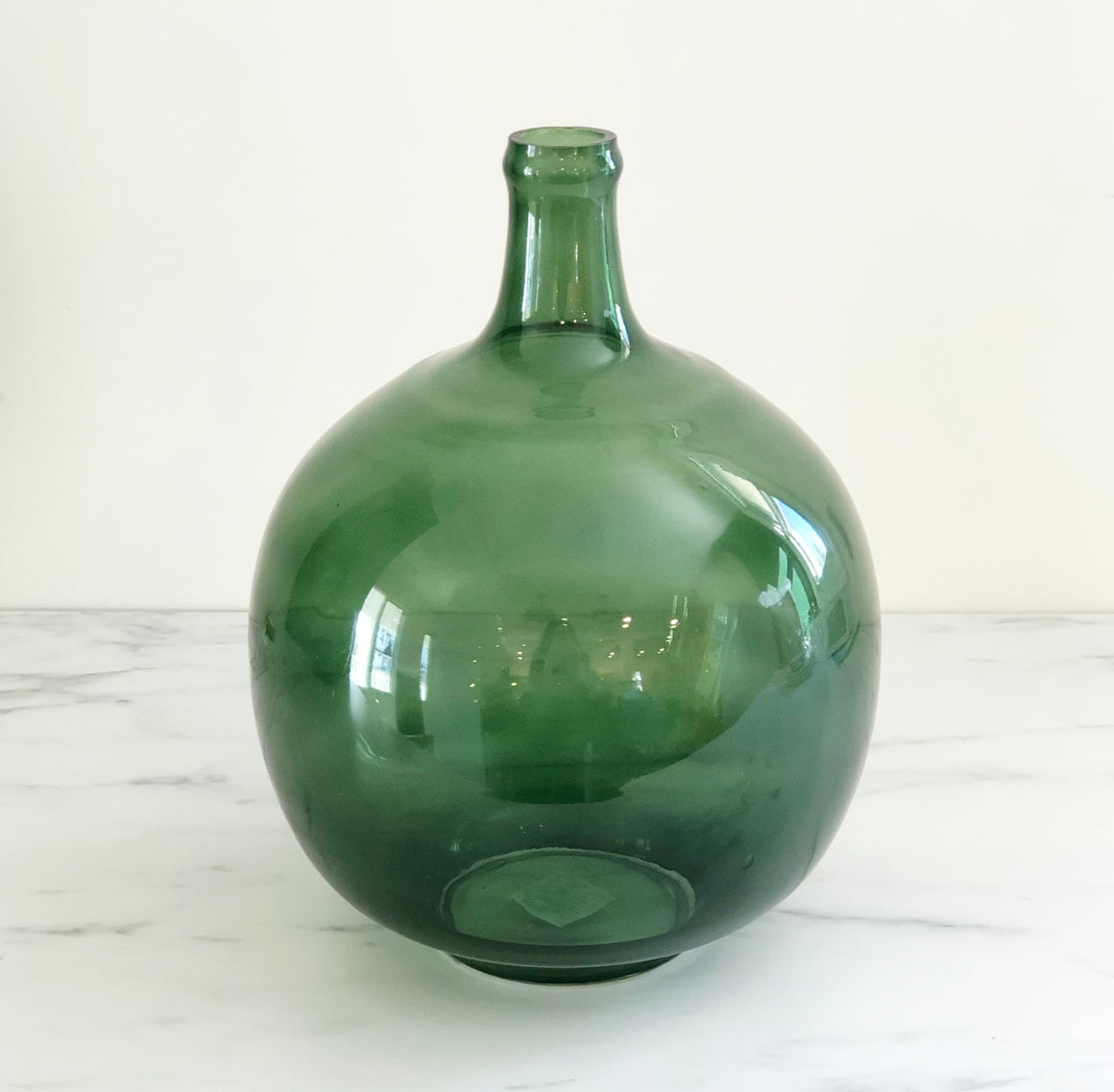 "13"" Vintage Reproduction Green Glass Bottle"