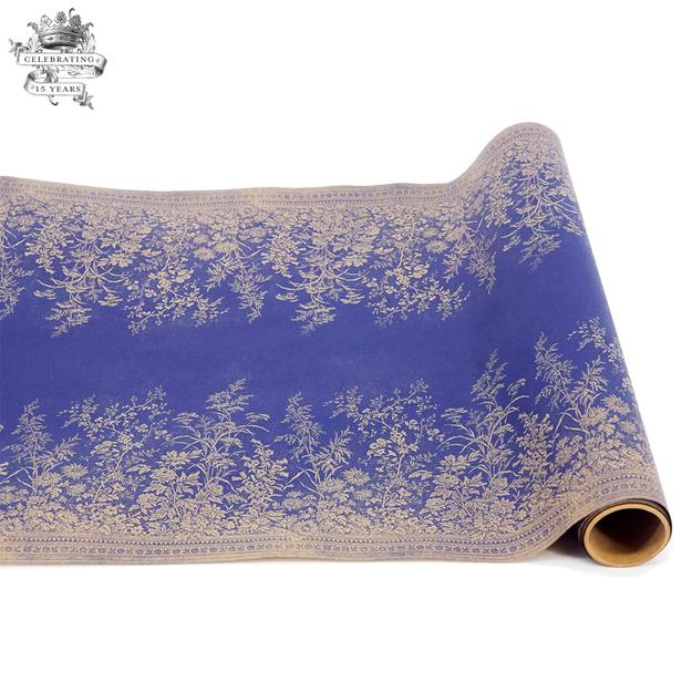Navy Woven Floral Paper Table Runner