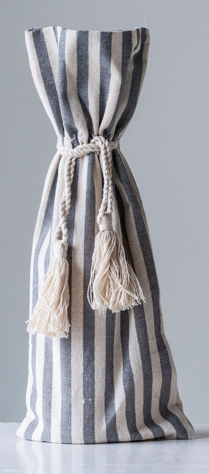 Striped Tasseled Wine Bag