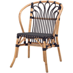 Woven Black + Natural Rattan Chair