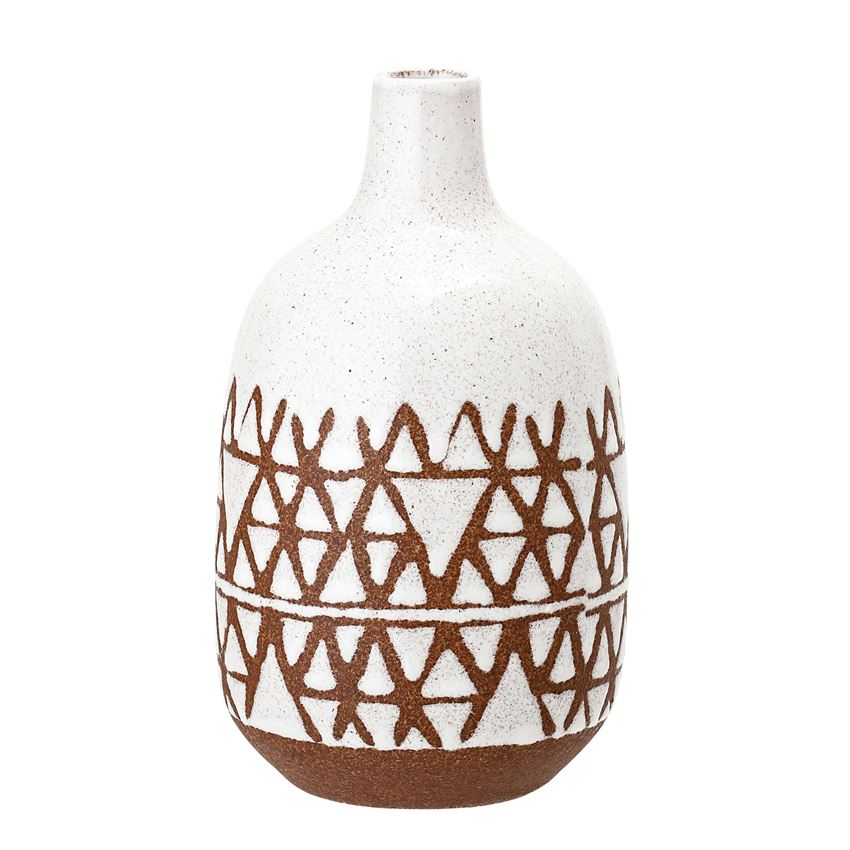 Tall Terracotta + White Vase