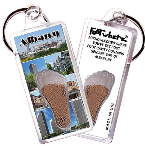 Albany, NY FootWhere® Souvenir Keychain. Made in USA - FootWhere® Souvenirs