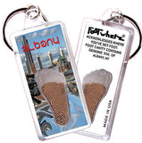 Albany, NY FootWhere® Souvenir Keychain. Made in USA-FootWhere® Souvenirs