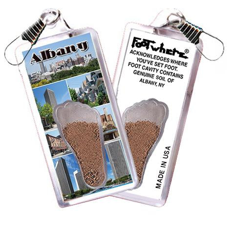 Albany, NY FootWhere® Souvenir Zipper-Pull. Made in USA-FootWhere® Souvenirs