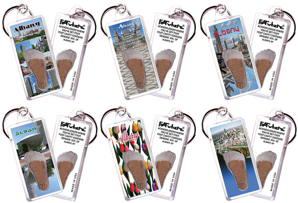 Albany, NY FootWhere® Souvenir Keychains. 6 Piece Set. Made in USA-FootWhere® Souvenirs