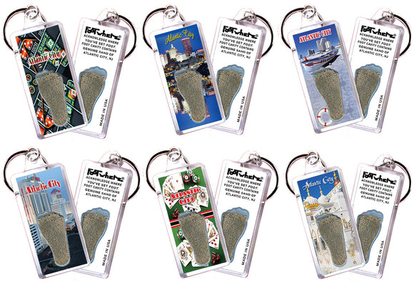 Atlantic City FootWhere® Souvenir Keychains. 6 Piece Set. Made in USA - FootWhere® Souvenirs