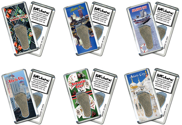 Atlantic City FootWhere® Souvenir Fridge Magnets. 6 Piece Set. Made in USA-FootWhere® Souvenirs