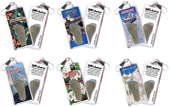 Atlantic City FootWhere® Souvenir Zipper-Pulls. 6 Piece Set. Made in USA-FootWhere® Souvenirs