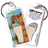 Anguilla FootWhere® Souvenir Keychains. 6 Piece Set. Made in USA-FootWhere® Souvenirs