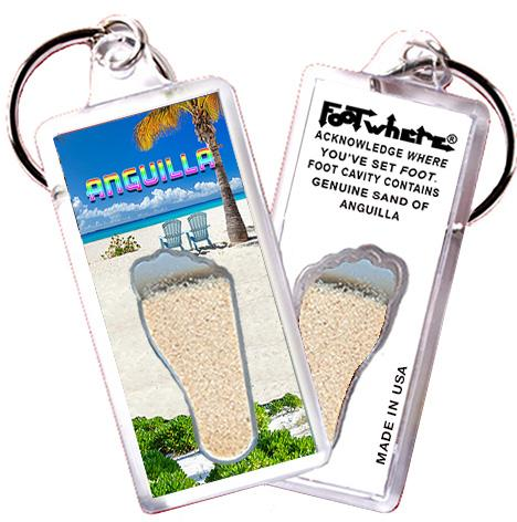 Anguilla FootWhere® Souvenir Keychain. Made in USA-FootWhere® Souvenirs