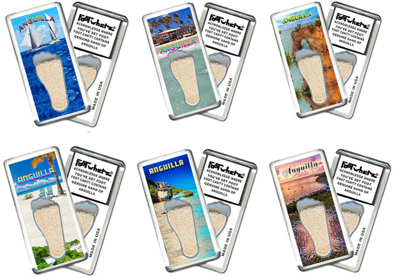 Anguilla FootWhere® Souvenir Fridge Magnets. 6 Piece Set. Made in USA-FootWhere® Souvenirs