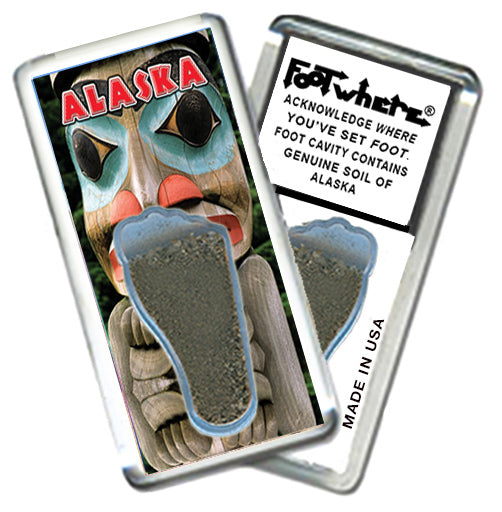 Alaska FootWhere® Souvenir Fridge Magnet. Made in USA-FootWhere® Souvenirs
