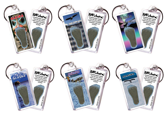 Alaska FootWhere® Souvenir Keychains. 6 Piece Set. Made in USA - FootWhere® Souvenirs
