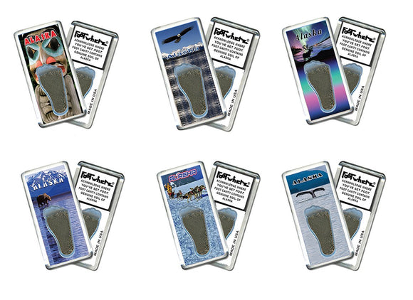 Alaska FootWhere® Souvenir Fridge Magnets. 6 Piece Set. Made in USA - FootWhere® Souvenirs