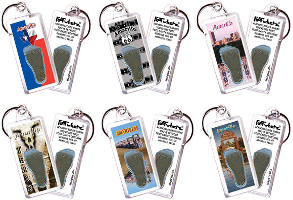Amarillo FootWhere® Souvenir Keychains. 6 Piece Set. Made in USA - FootWhere® Souvenirs