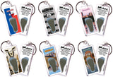 Amarillo FootWhere® Souvenir Keychains. 6 Piece Set. Made in USA-FootWhere® Souvenirs