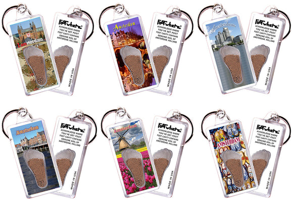Amsterdam FootWhere® Souvenir Keychains. 6 Piece Set. Made in USA - FootWhere® Souvenirs