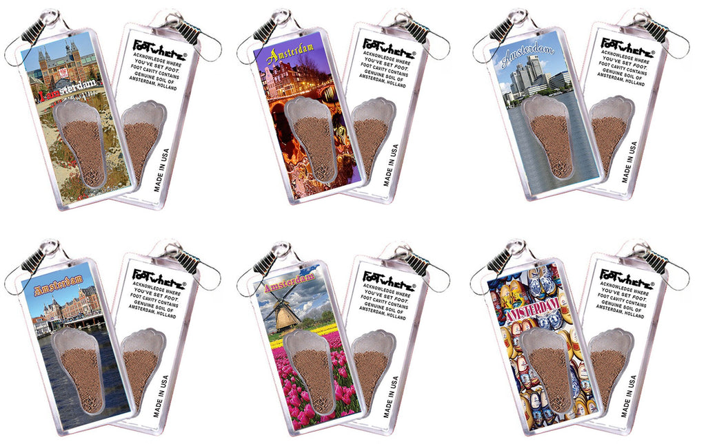 Amsterdam FootWhere® Souvenir Zipper-Pulls. 6 Piece Set. Made in USA-FootWhere® Souvenirs