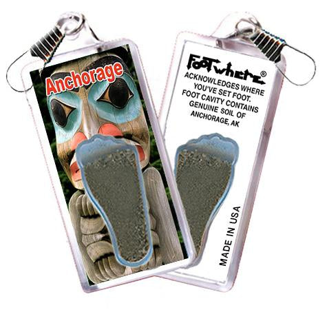 Anchorage FootWhere® Souvenir Zipper-Pull. Made in USA-FootWhere® Souvenirs