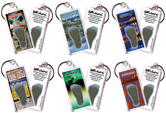 Anchorage FootWhere® Souvenir Keychains. 6 Piece Set. Made in USA - FootWhere® Souvenirs