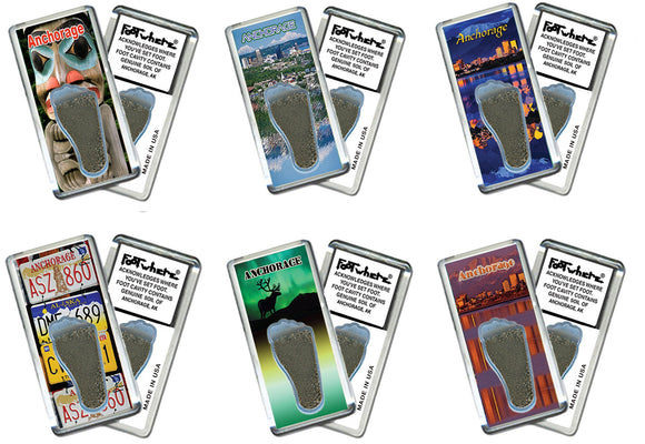 Anchorage FootWhere® Souvenir Fridge Magnets. 6 Piece Set. Made in USA-FootWhere® Souvenirs