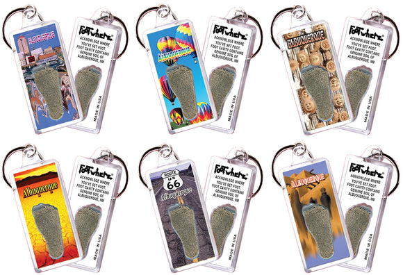 Albuquerque FootWhere® Souvenir Keychains. 6 Piece Set. Made in USA - FootWhere® Souvenirs
