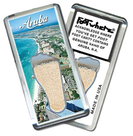 Aruba, N.A. FootWhere® Souvenir Magnet. Made in USA-FootWhere® Souvenirs