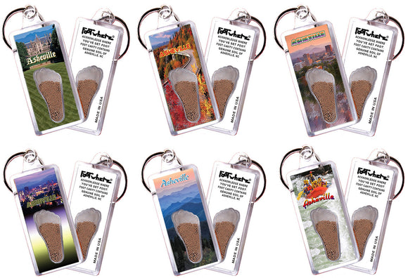 Asheville, NC FootWhere® Souvenir Keychains. 6 Piece Set. Made in USA - FootWhere® Souvenirs