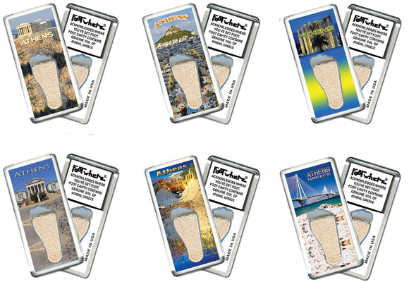 Athens, Greece FootWhere® Souvenir Fridge Magnets. 6 Piece Set. Made in USA-FootWhere® Souvenirs