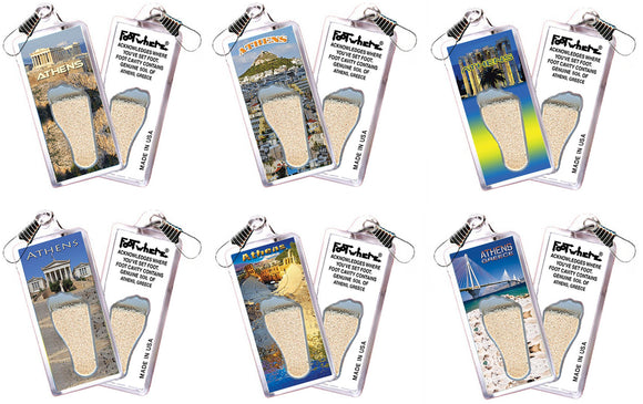 Athens, Greece FootWhere® Souvenir Zipper-Pulls. 6 Piece Set. Made in USA - FootWhere® Souvenirs