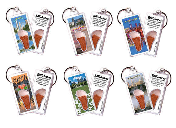 Atlanta FootWhere® Souvenir Keychains. 6 Piece Set. Made in USA - FootWhere® Souvenirs
